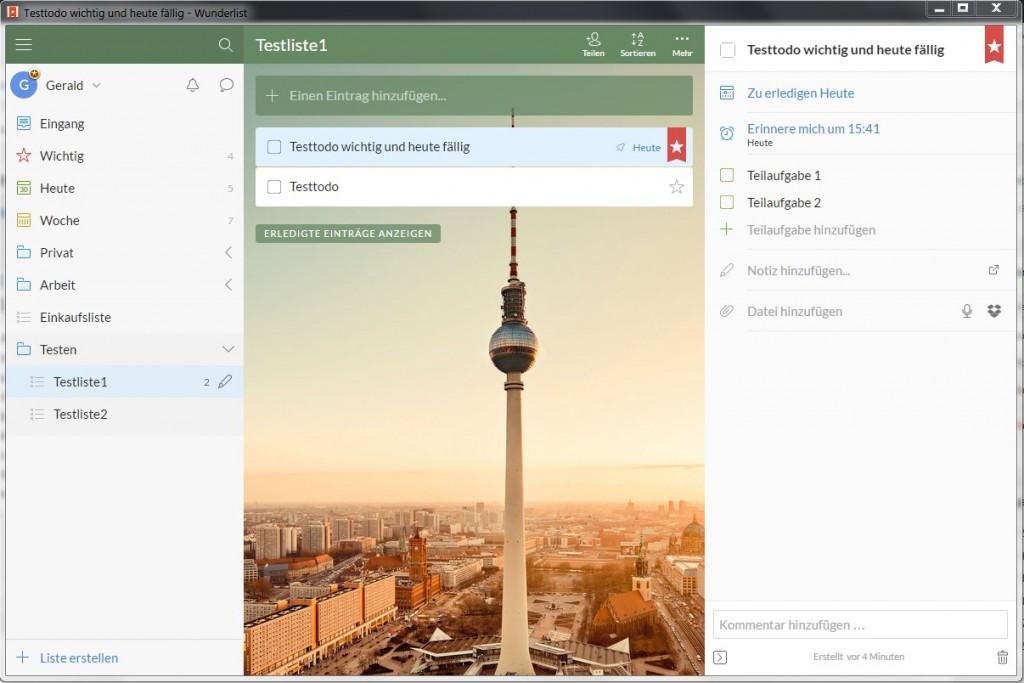 Wunderlist Windows Todo Eigenschaft 1024x683 - Todo - Listen organisieren mit Wunderlist