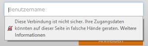 Bild der Warnmeldung Unsicheres Login-Feld im Firefox 52
